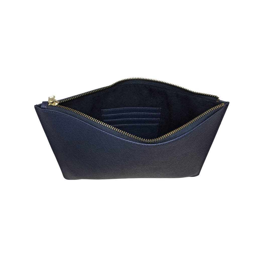 Large Clutch Pouch -  Blue Saffiano Leather - Valerie Constance