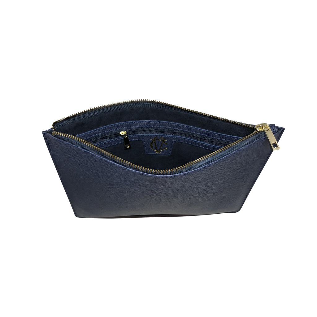 Large Clutch Pouch -  Blue Saffiano Leather - Zipper Strap - Valerie Constance