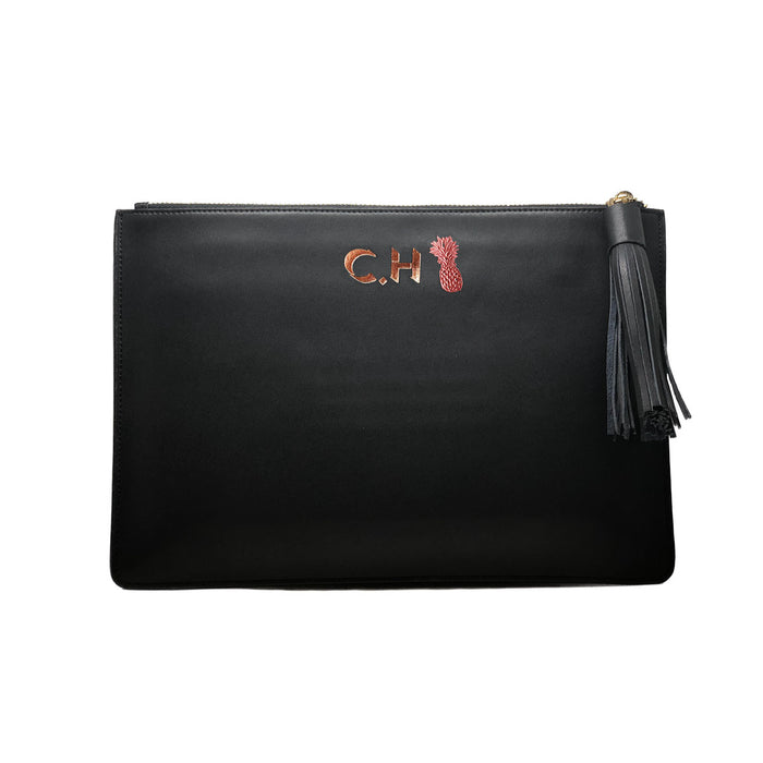 Midnight Black Smooth Leather - Large Clutch Pouch - Tassel