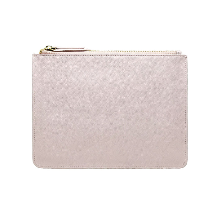 CREPE PINK SAFFIANO LEATHER - CLUTCH POUCH - BABY ZIPPER STRAP