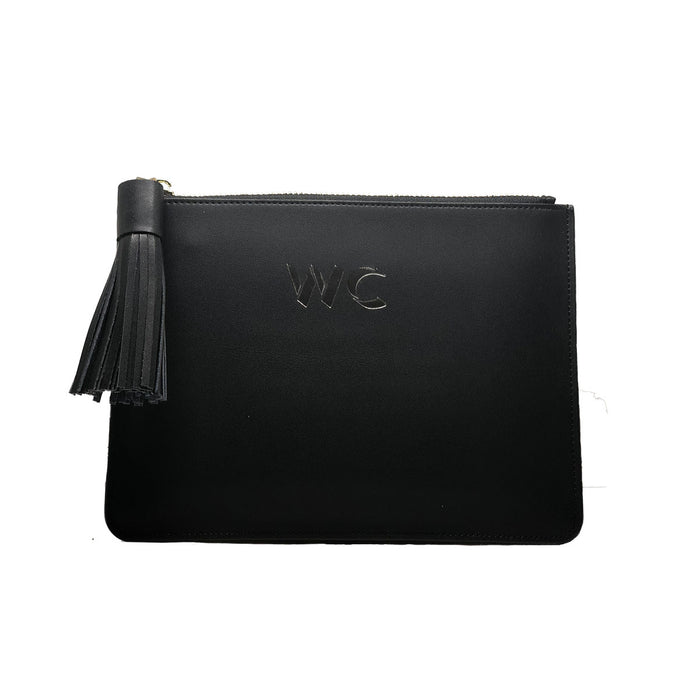 Midnight Black Smooth Leather - Small Clutch Pouch -  Tassel