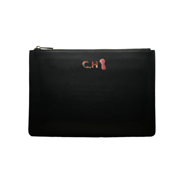 Midnight Black Smooth Leather - Large Clutch Pouch