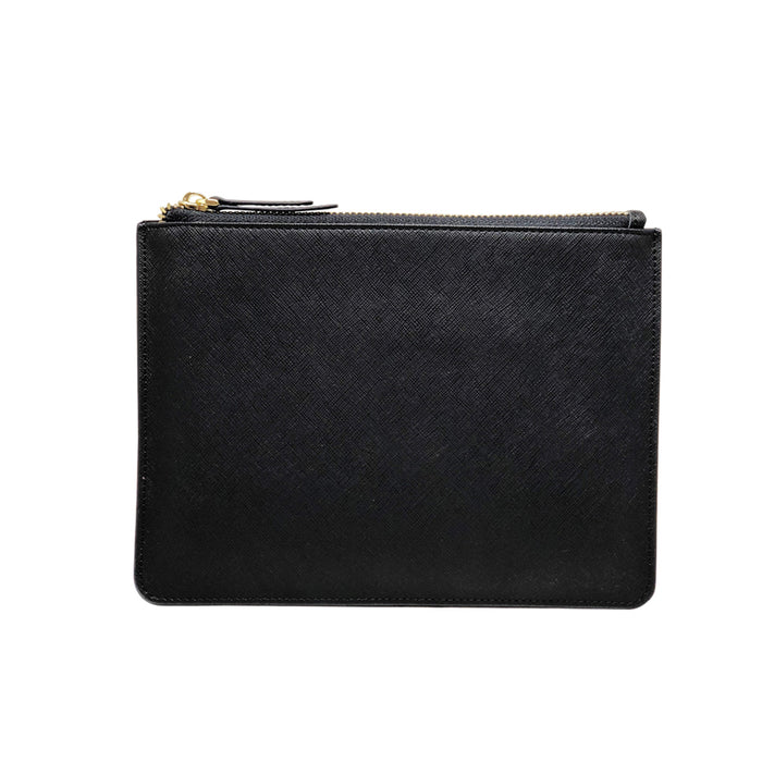 Sable Black - Saffiano Leather - Clutch Pouch - Baby Zipper Strap