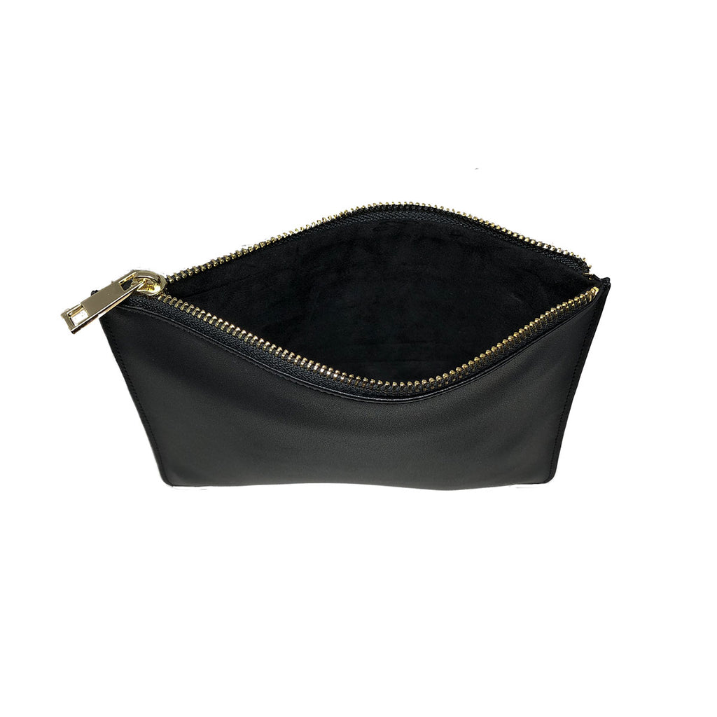 Midnight Black Smooth Leather - Small Clutch Pouch