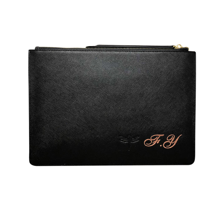 Midnight Black Saffiano Leather - Large Clutch Pouch - Zipper Strap