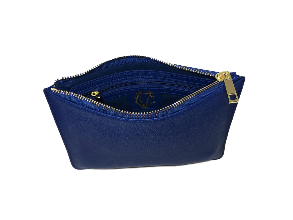 Clutch Pouch - Blue Saffiano Leather - Valerie Constance