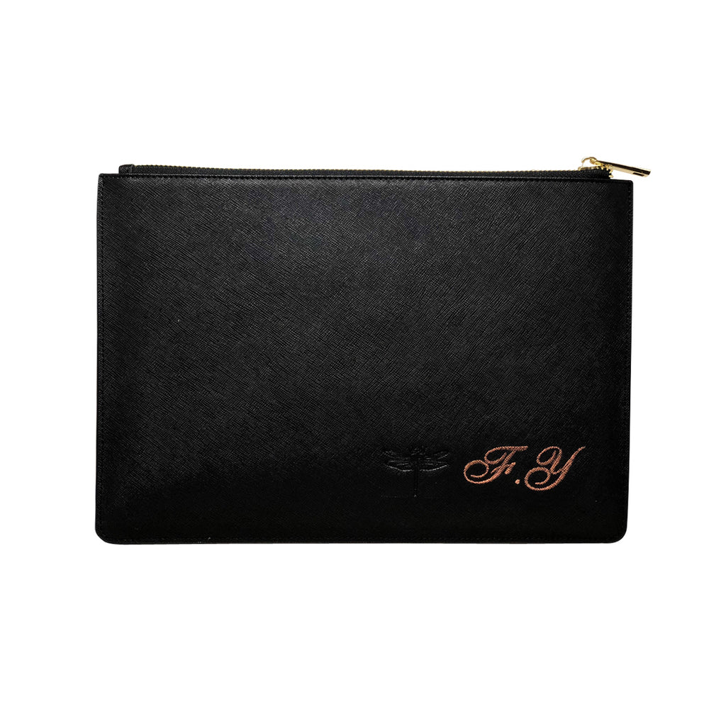 Large Clutch Pouch -  Black Saffiano Leather - Valerie Constance