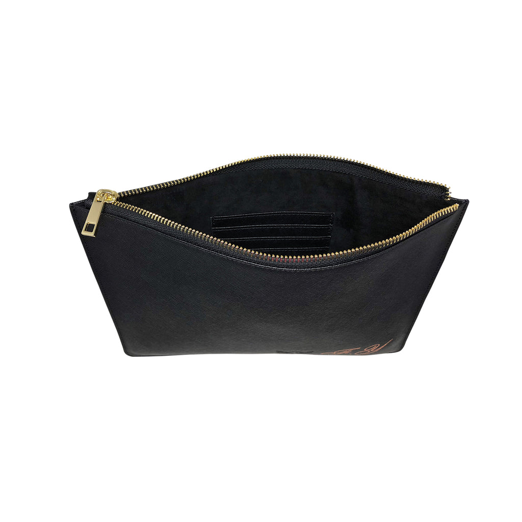 Midnight Black Saffiano Leather - Large Clutch Pouch