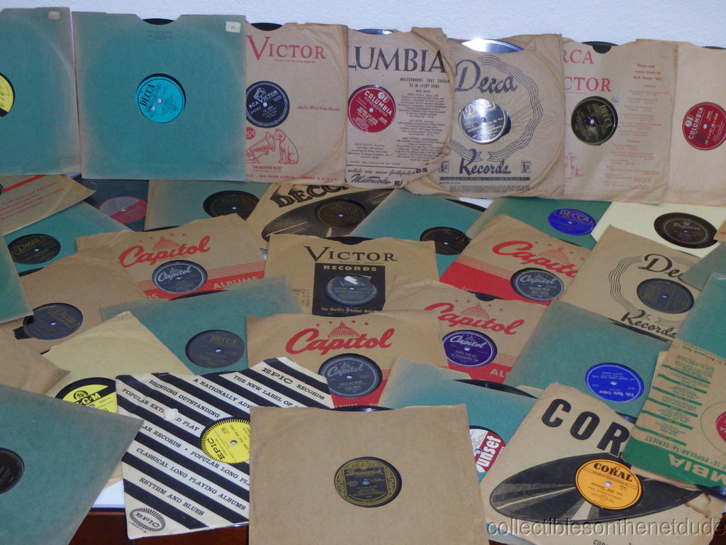 "Great Lot of (12) 78 RPM 10"" Shellac Records in Sleeves RESALE WHOLESALE random 20's-50s"