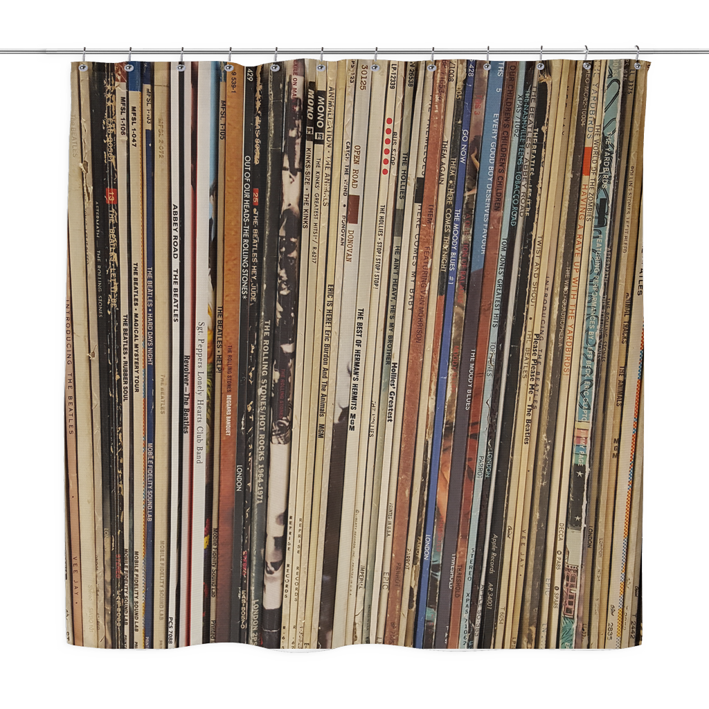 RETRO SHOWER CURTAIN, VINYL RECORD ALBUMS, British Invasion