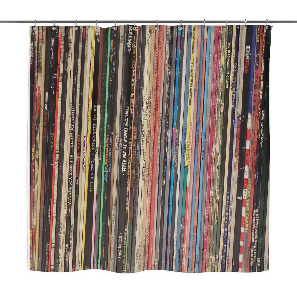 RETRO SHOWER CURTAIN VINYL RECORD ALBUMS Punk Rock