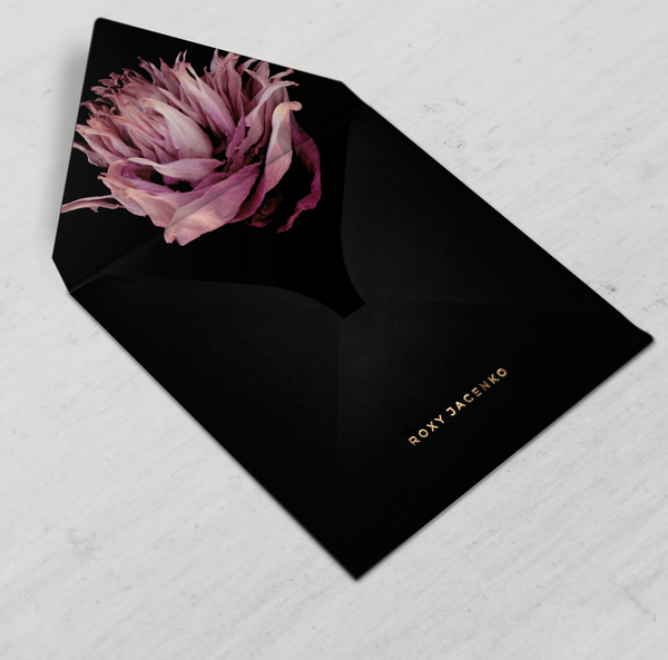 THE FRIDA - Classic Black Envelope with Fuschia Floral Liner - Envelopes by Olympia