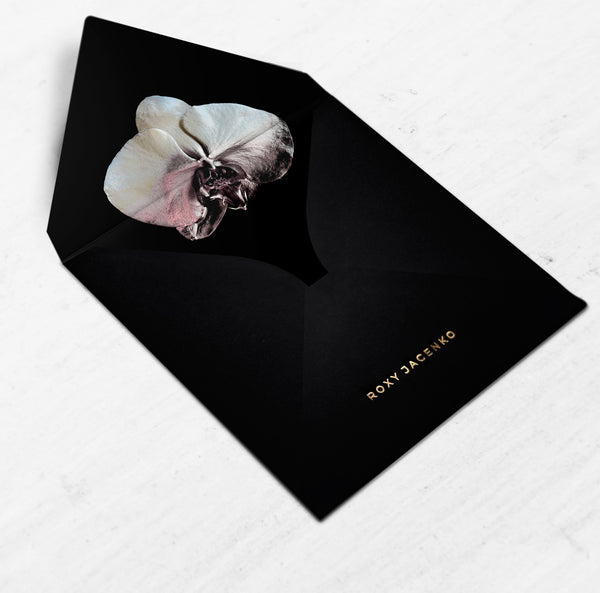 CLEOPATRA - Classic Black Envelope with Dusty Pink Orchid Liner - Envelopes by Olympia