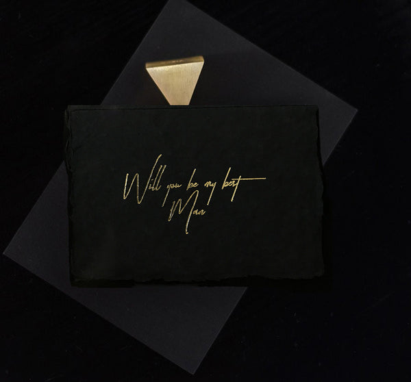 Midnight Best Man Card - Gold - Envelopes by Olympia