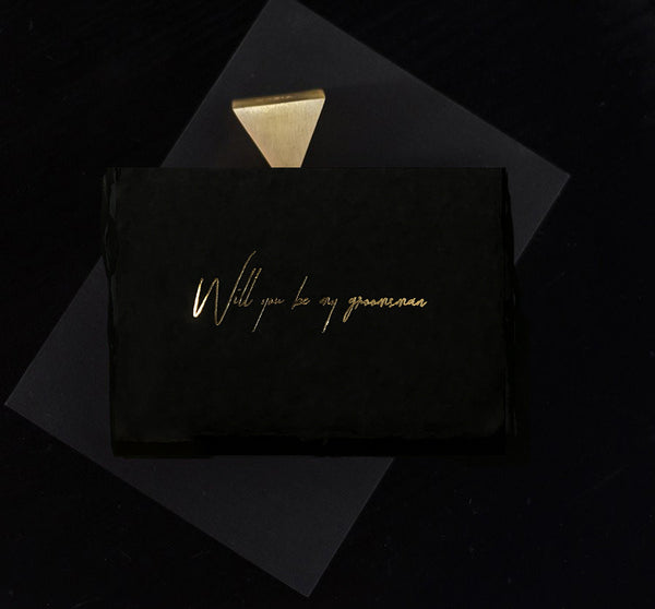 Midnight Groomsman Card - Gold - Envelopes by Olympia