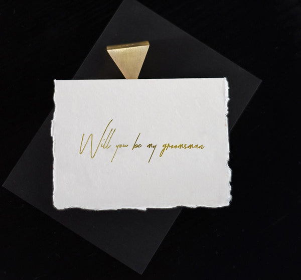 Ivory Groomsman Card - Gold - Envelopes by Olympia