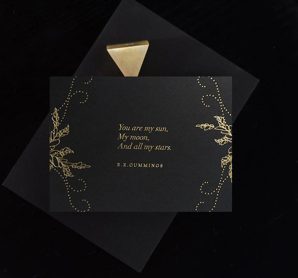 And You are my Sun Card Midnight  - Gold - Envelopes by Olympia