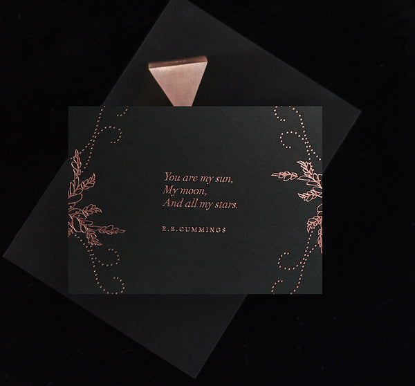 And You are my Sun Card Midnight  - Rose Gold - Envelopes by Olympia
