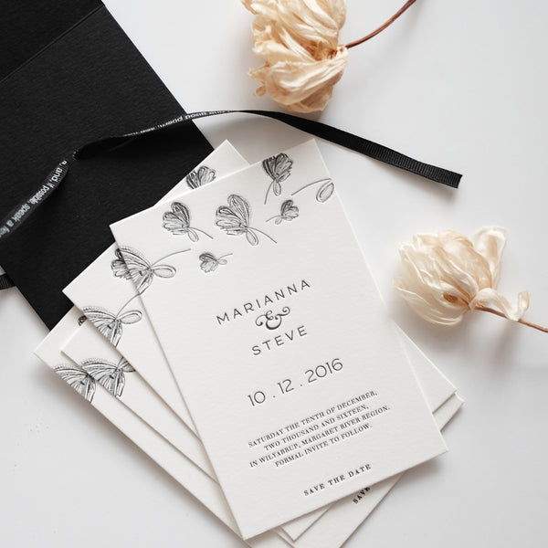 ALPHA - Letterpress Save the Date Cards - Envelopes by Olympia