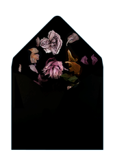DUSK - Classic Black Envelope with Sunset Floral Liner - Envelopes by Olympia