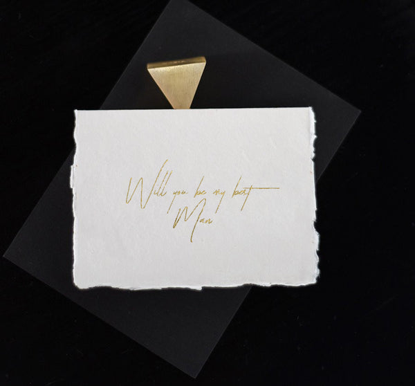 Ivory Best Man Card - Gold - Envelopes by Olympia