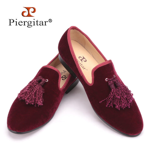 Handmade new fashion fabric tassel men velvet shoes British nobility style party and wedding loafers Men dress shoe men's flats