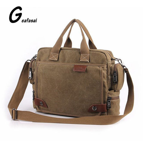 solid color black Khaki Casual Vintage Multifunction trunk Men's Canvas travel crossbody