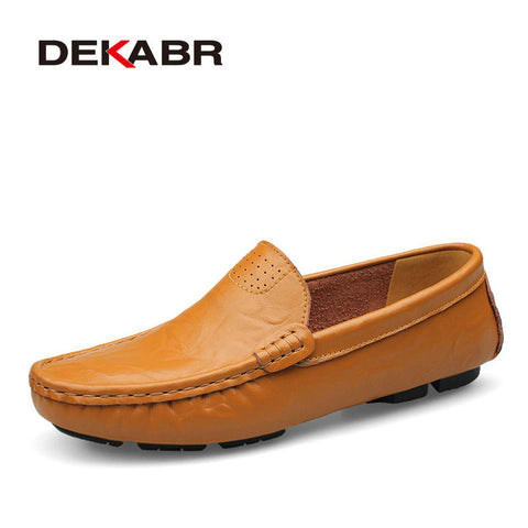 High Quality Genuine Leather Men Shoes Soft Moccasins Loafers Fashion Brand Men Flats