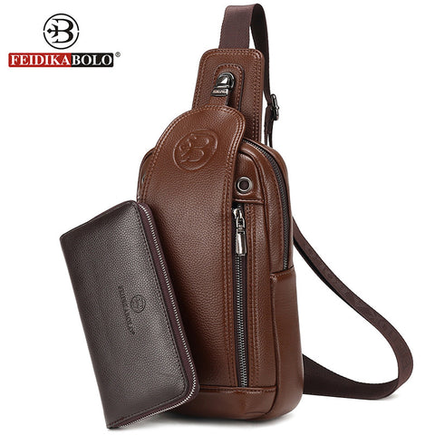 FD BOLO Brand Bag Men Chest Pack Single Shoulder Strap Back Bag Leather
