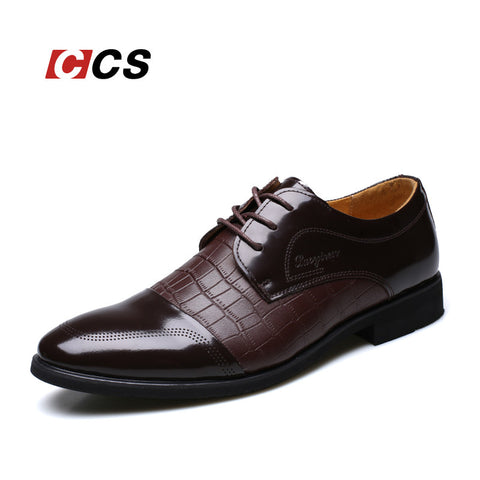 Crocodile Pattern Genuine Leather Oxford Shoes
