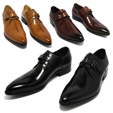 Business dress shoes genuine leather pointed toe