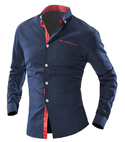 Shirts Mens Polka Dot Shirt Slim Fit