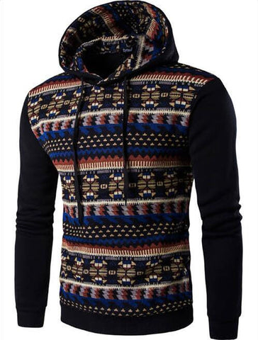 2016 Hoodies Mens Hombre Hip Hop Male Brand Hoodie Fashion Geometric Print Sweatshirt  Suit Men Slim Fit Men Hoody XXL EYRV