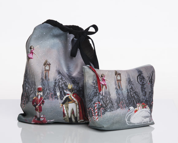 Makeup Bag in Pink Nutcracker Print - AW901NU