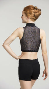 Zip Front Crop Top with Deco Lace - AW315DC