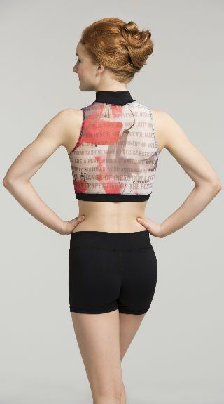 Zip Front Crop Top with Kid Pivot Print - AW315KP