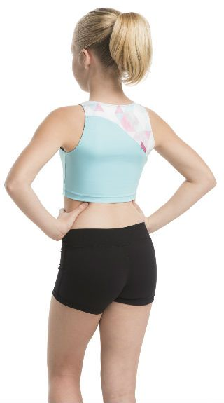 Girls Jenna Crop Top with Triangle Print - AW332TR G