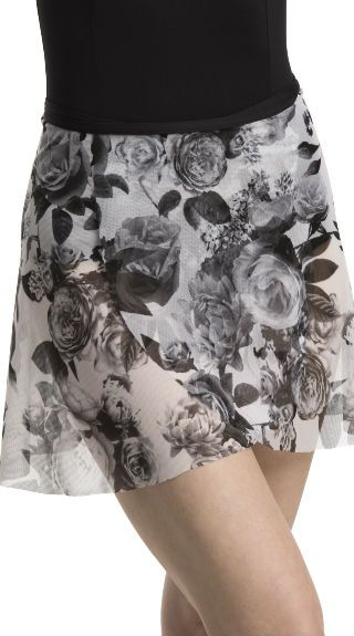 Wrap Skirt in Soft Floral Print Mesh - AW501SF