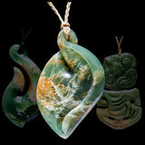 Maori jade carvings and necklaces