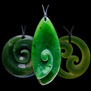 Jade Koru or Spirals - Maori style jade twists jewelry and necklaces
