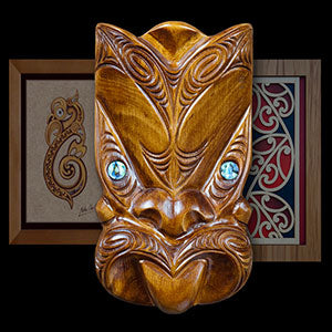 Fiji new zealand aboriginal carved wood maori tiki shell eye mask