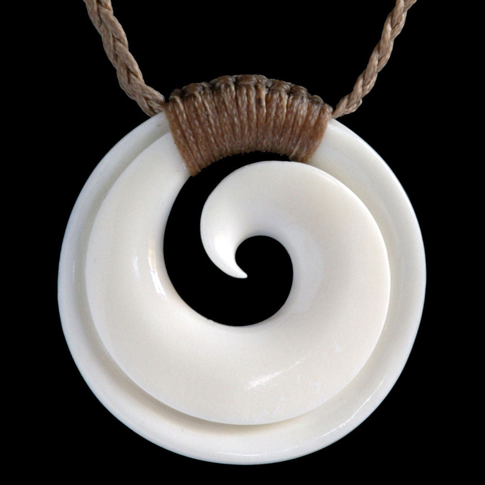 Bound Maori Bone Koru Necklace