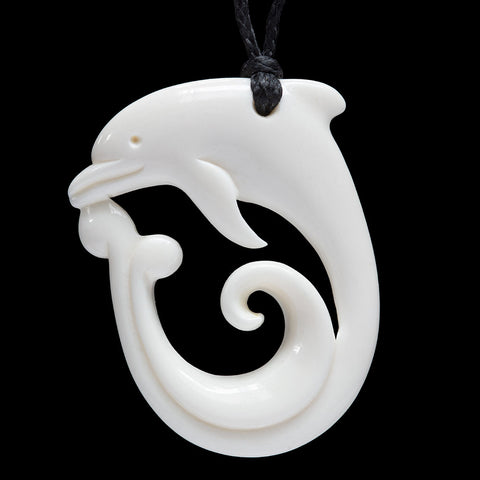Dolphin Bone Carving Pendant by Don Campbell