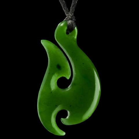 Jade matau fish hooks the bone art place maori hook jade carving necklace mozeypictures Image collections