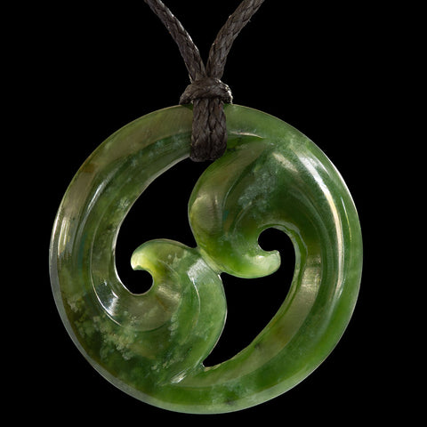 Maori Koru Jade Carving Pendant From New Zealand