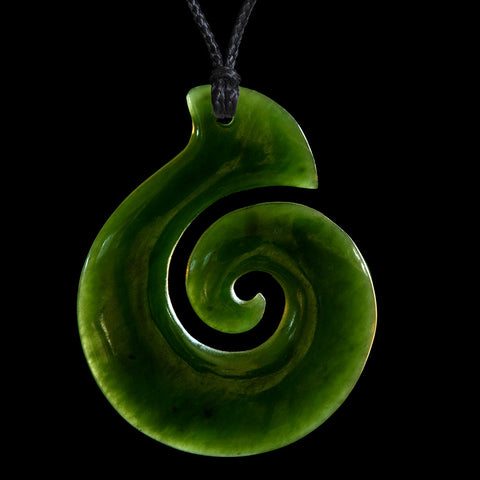 Maori Koru Jade Carving Necklace