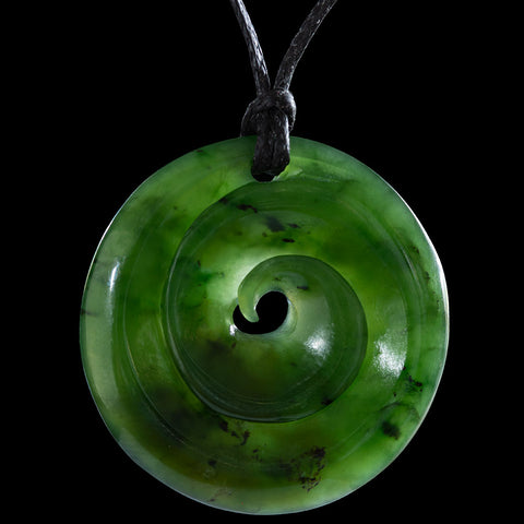 Maori Koru Jade Carving Pendant By Ross Crump