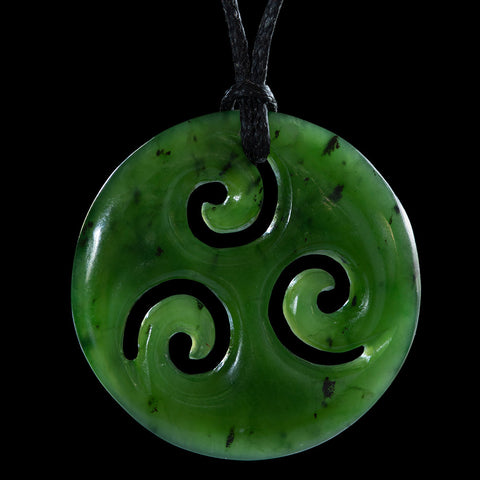 Maori Jade Triple Koru Pendant by Ross Crump