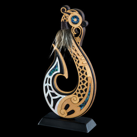 Large Wooden Maori Style Hook Sculpture