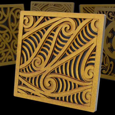 Maori Style Wha Kowhaiwhai Tile Art by Mike Carlton from New Zealand